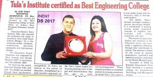 "press release cliping of Garhwal Post, Tula's awarded with ""best engineering college in north india"""