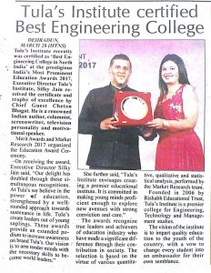 "press release cliping of the himachal times, Tula's awarded with ""best engineering college in north india"""
