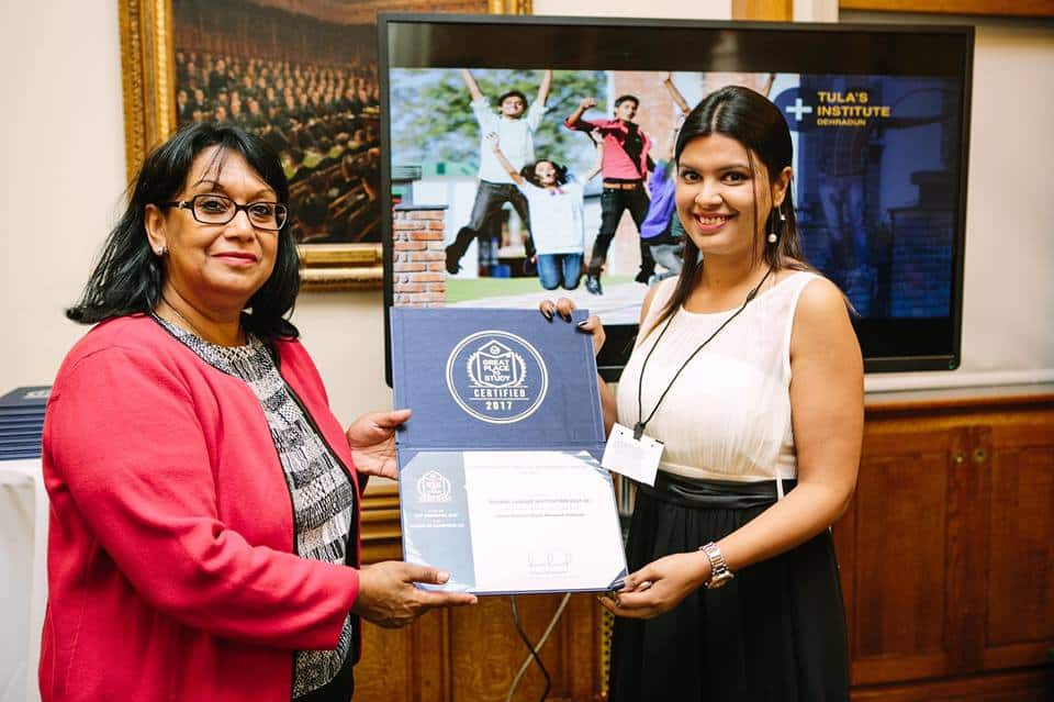 "Tula's Institute got certified as ""Global League Institution"" for the 2nd time by the Great Place to Study Research Institute at House of Commons, London."