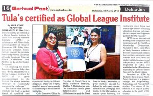 Garhwal Post Press clippings Tula's Institute awarded with global league award.