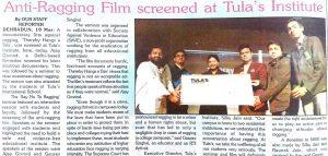 Anti ragging screening at MBA colleges in Dehradun