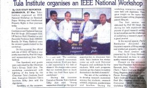 "Garhwal Post press clippings of an IEEE National Workshop on ""Research paper Writing and Intelectual Property Rights"" organized at tula's Institute."
