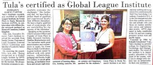 Himachal Times of Press clippings Tula's Institute awarded with global league award.