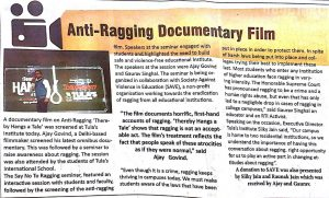 Anti Ragging Documentary Screening at Tula's Institute The Dehradun Street Page
