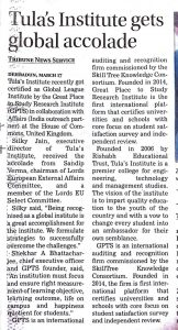 Tribune of Press clippings Tula's Institute awarded with global league award.