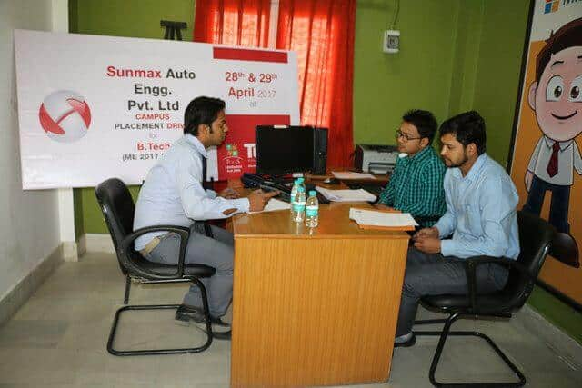 Campus Placement Drive for B.Tech (ME) of Sunmax Auto Engg. Pvt. Ltd